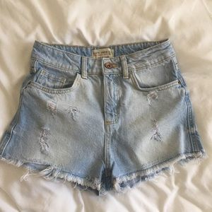 Zara Basic Denim High Rise Cutoff Shorts